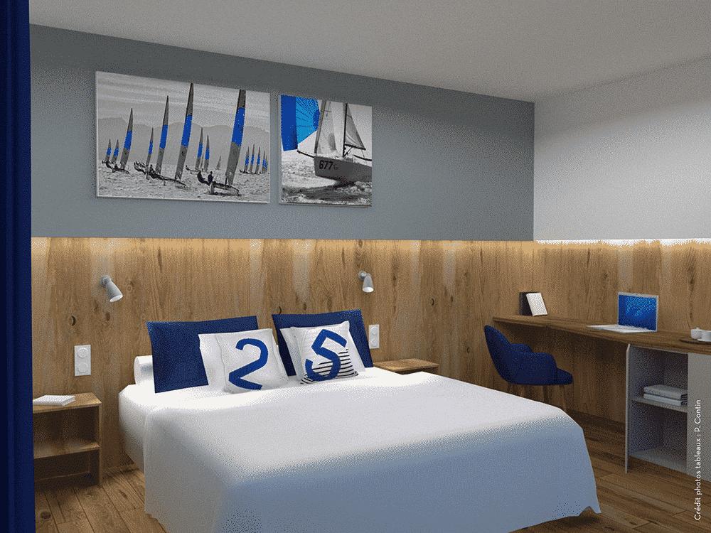 Chambre bleue de l'hotel des Marins à Saint-Malo